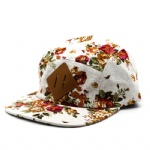 5 Panels Retro Flower Printed Fabric Flat Peak Cap