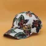 6 Panels Flowers Printed Cotton Baseball Caps